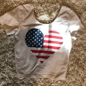 American Apperal Flag Heart Cropped Tee